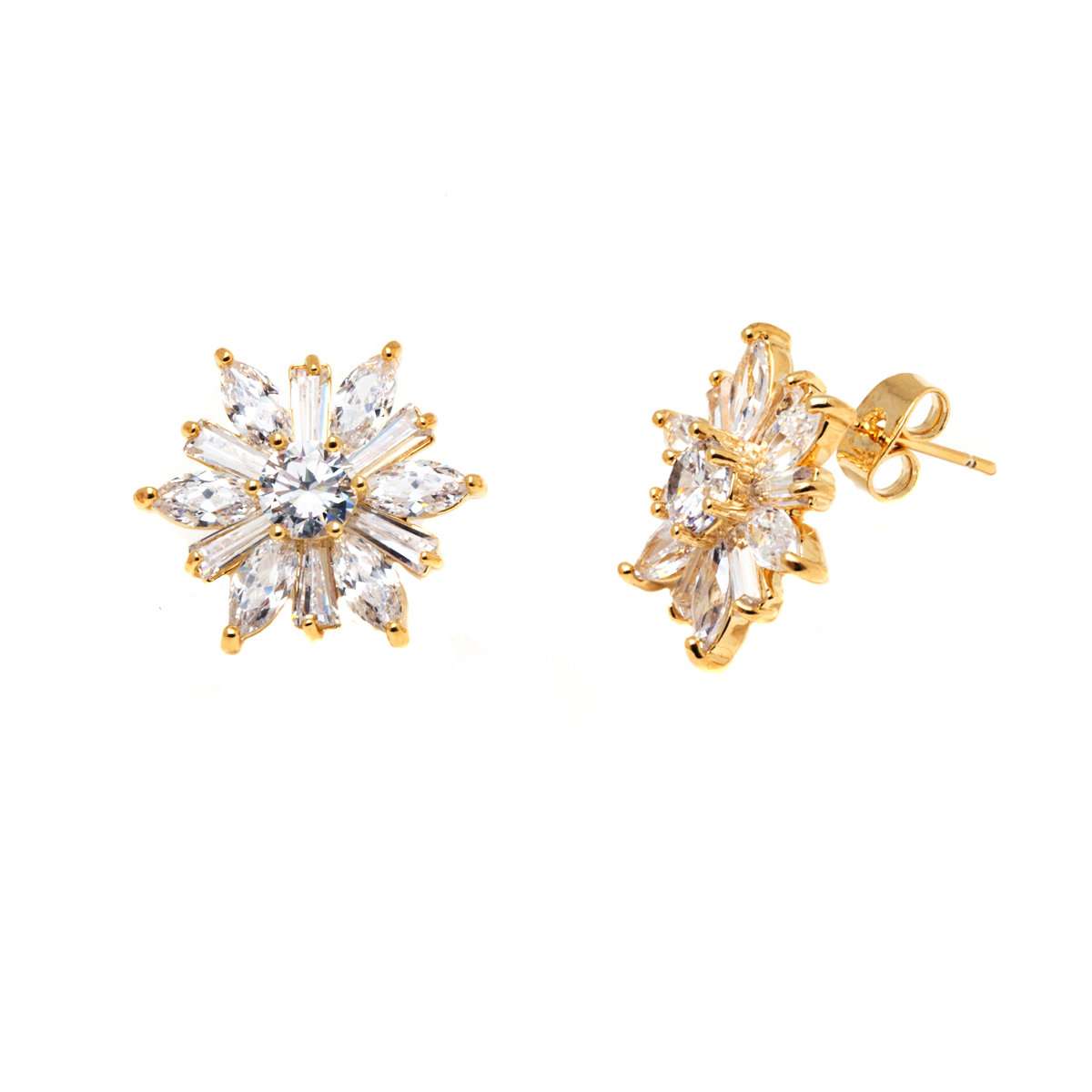 6db7e0ead 18K Gold Plated & Crystal Flower Stud Earrings