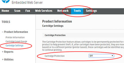 Disable HP Cartridge Protection on My Printer.