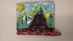 Glazed tile mountain