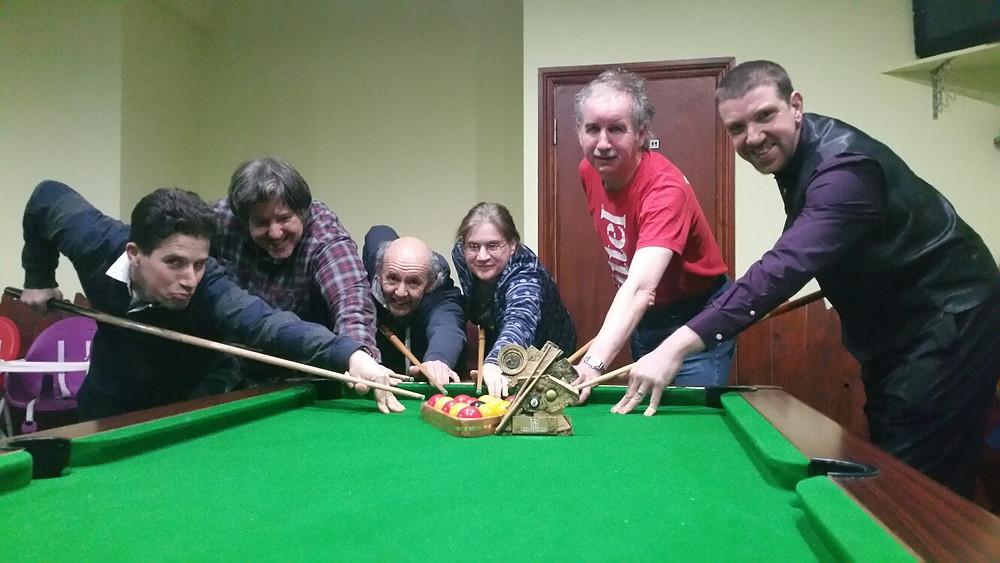 The Redbridge 18 Plus team celebrate their pool success.