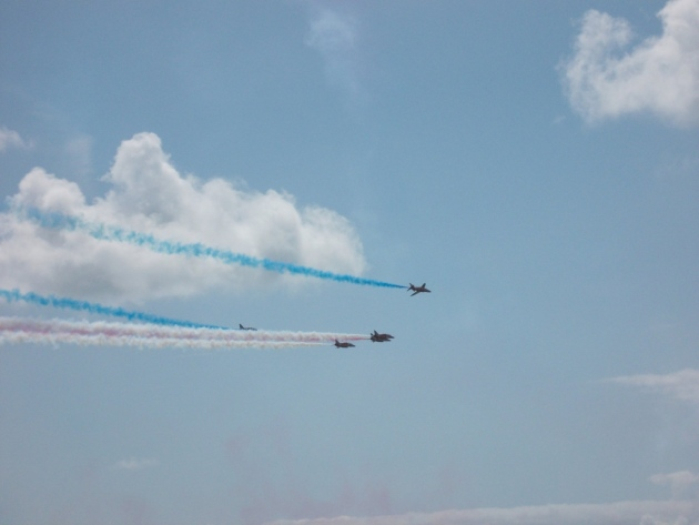 The planes flying over the beach