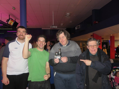 "A Group from Goodmayes celebrated a ""double victory in a bowling competition."