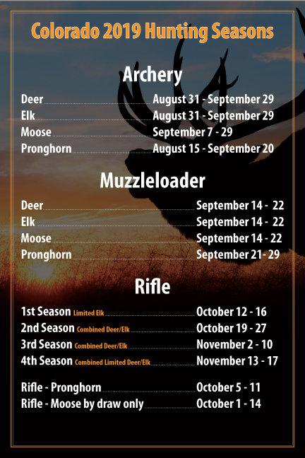 2019 Hunting Seasons