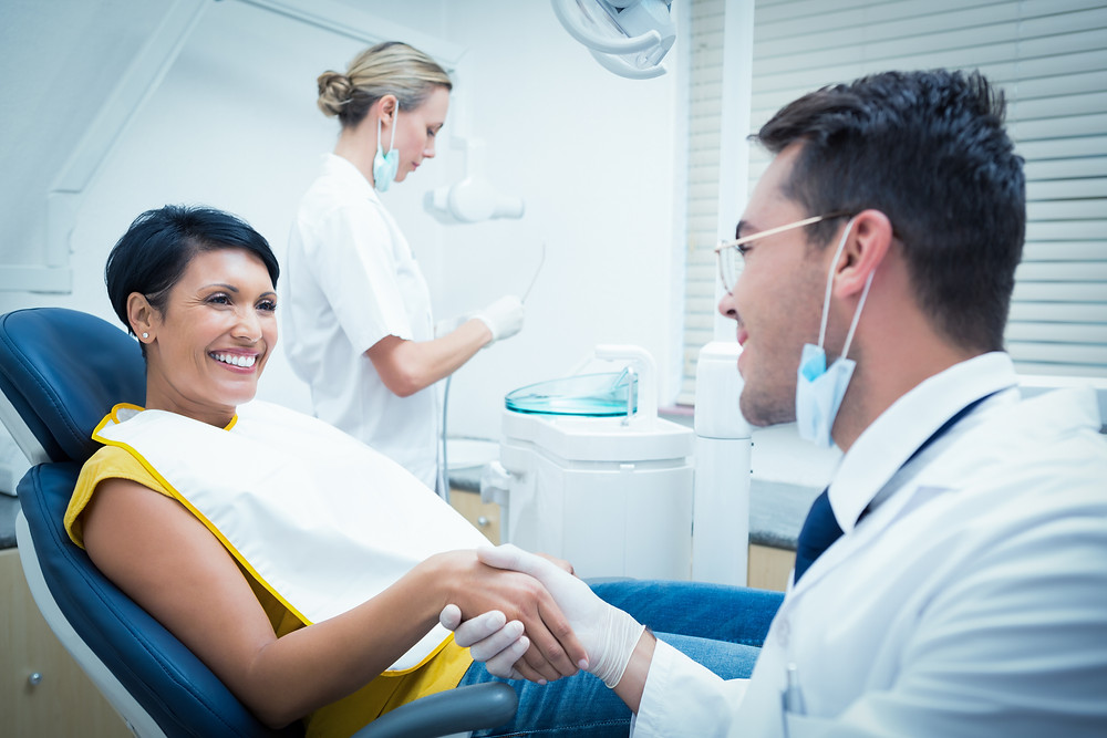 dentist patient helpful happy teeth clinic dental handshake