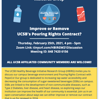 Flier for Improve or Remove UCSB's Pouring Rights Contract?