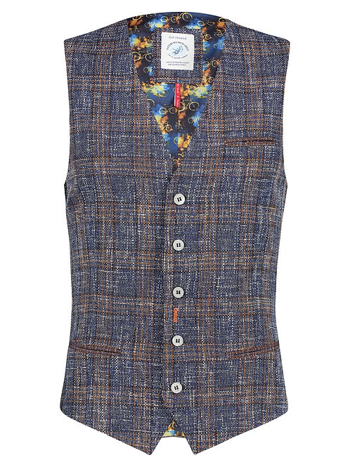 Waistcoat blue brown checked