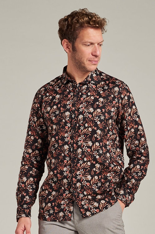 Flower Linen shirt Black