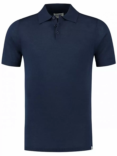 Brett Knitted Polo Navy
