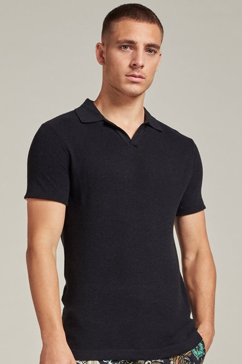 405376 Knitted polo Black