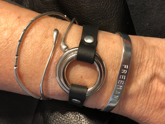 BLACK LEATHER WITH SILVER HARDWARE FOR MY MOM