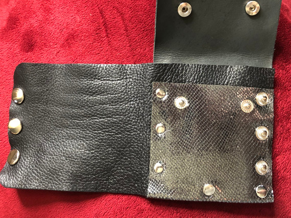 WRIST WALLET - BLACK AND PEWTER METALLIC LEATHER AND SILVER HARDWARE