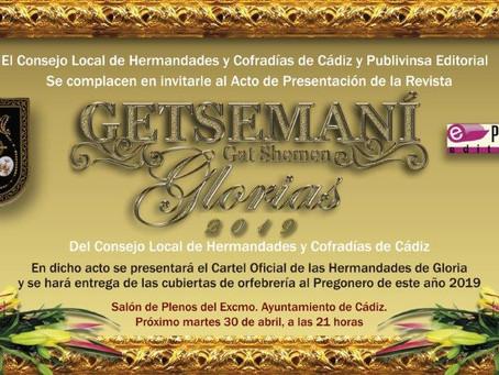 Presentación de la Revista Getsemaní Glorias, cartel oficial y entrega de cubiertas al pregonero.