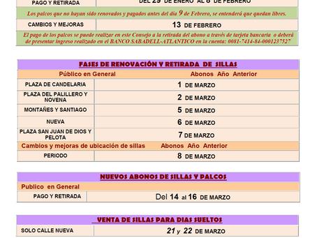 Disponible los precios  de Sillas y Palcos para la Semana Santa 2018 Cádiz