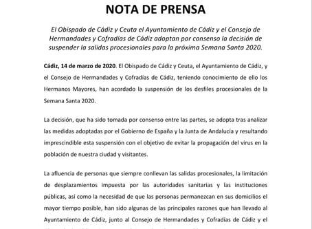 Suspendida oficialmente la Semana Santa de Cádiz 2020