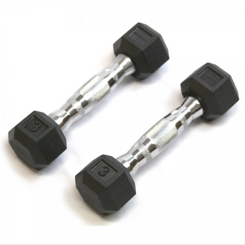 RUBBER HEX CUSHBELL DUMBELL 5LBS (SET)