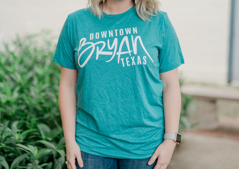 Downtown Bryan Teal T-Shirt