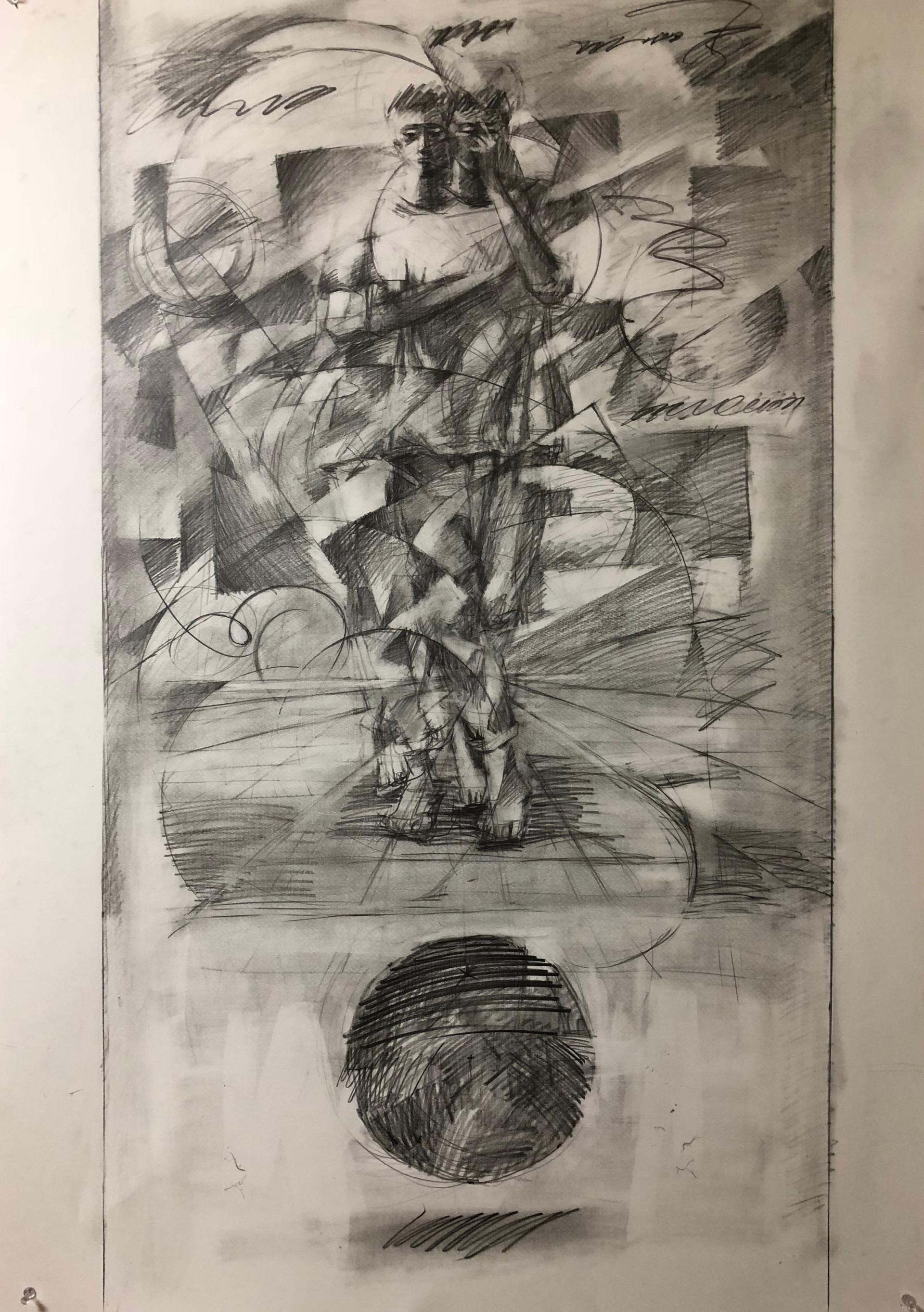 重力2 | 鉛筆、紙 1456mm ☓ 1030mm  | 2018