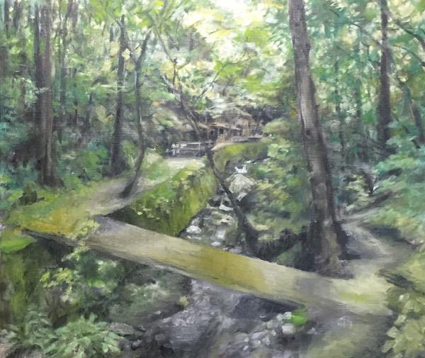 風景(大津)   アクリル、油彩、木板 530mm×455mm   2016