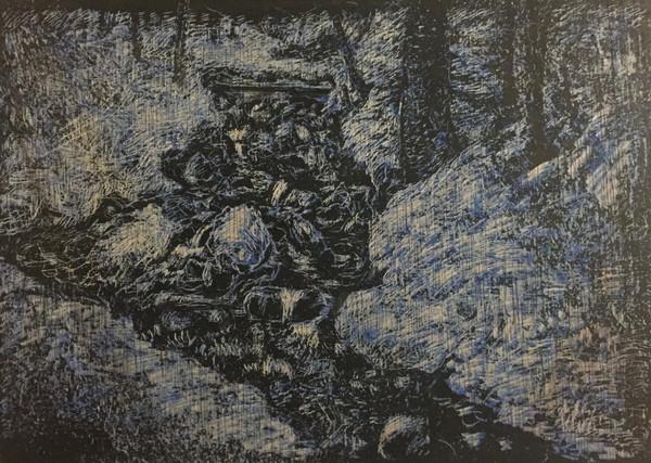 風景(手稲)   クレヨン、アクリル、木板  182mm×257mm   2018