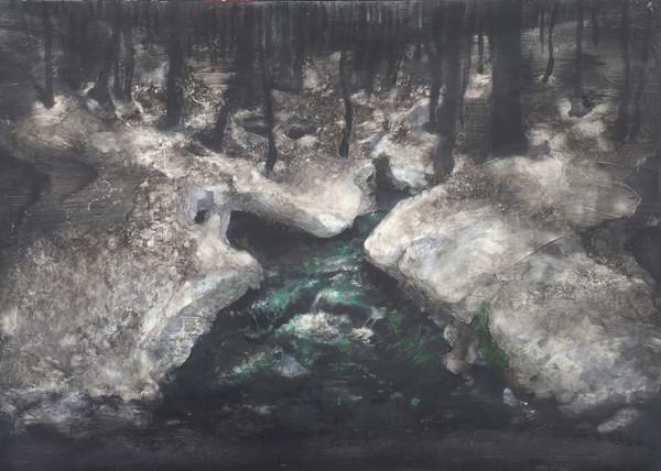 風景(手稲)   アクリル、油彩、木板 840mm×595m   2016