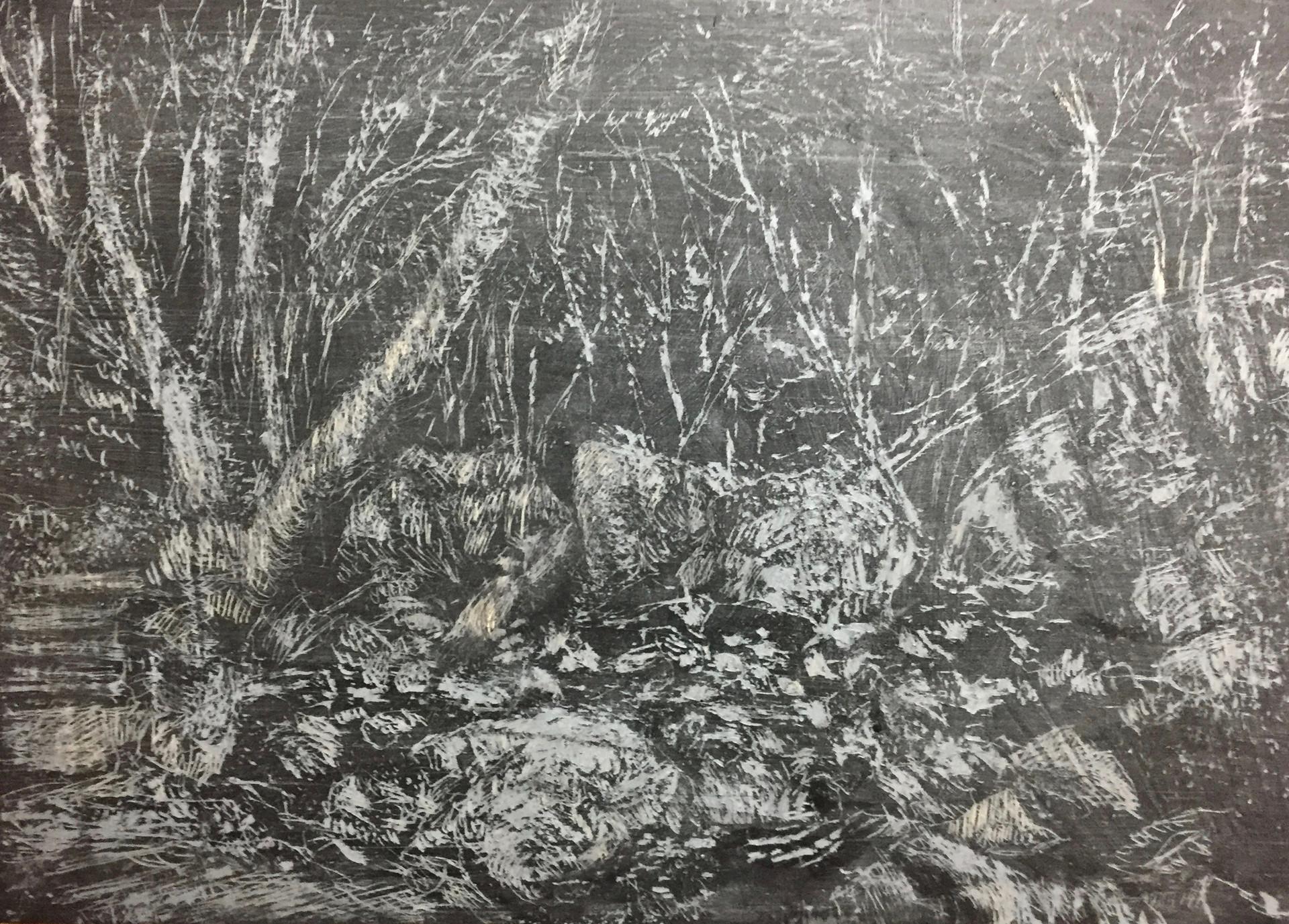 風景(手稲) | クレヨン、アクリル、木板  182mm×257mm | 2018