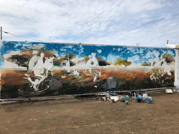 Rising Sun Rock Festival | コンテンポラリーダンサー東海林靖志と | ペンキ、木板   2000mm×7200mm2018年