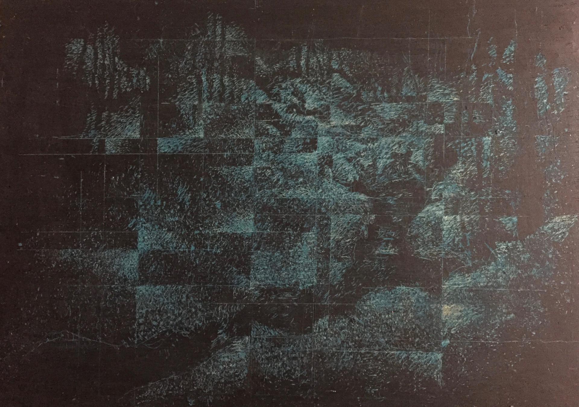 風景(手稲) | クレヨン、アクリル、木板 210mm×297mm | 2018