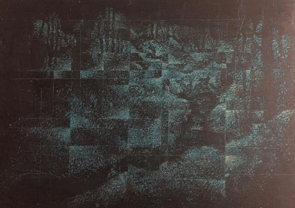 風景(手稲)   クレヨン、アクリル、木板 210mm×297mm   2018