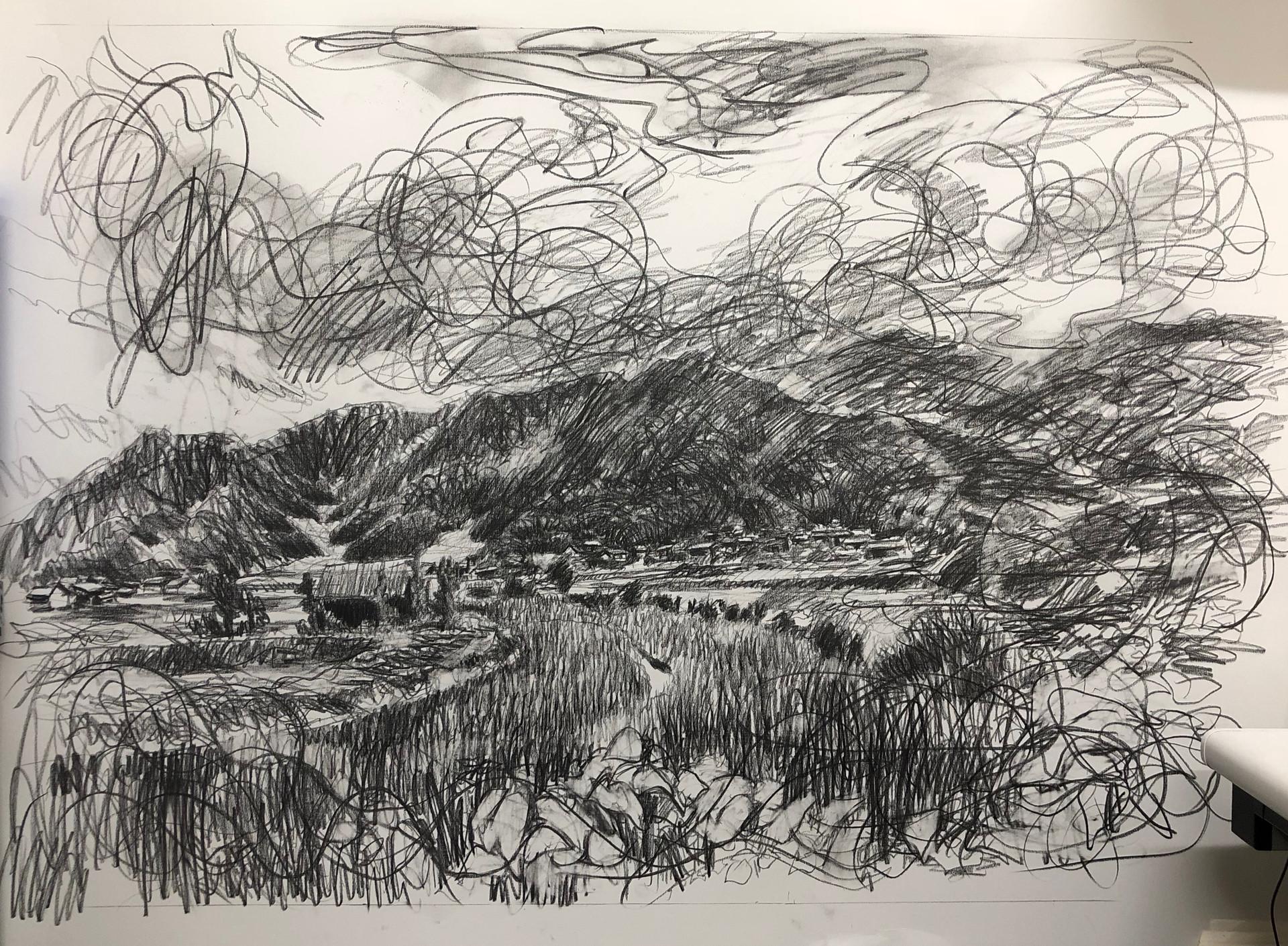 風景(手稲) | 色鉛筆、紙 1030mm ☓ 1456mm | 2018