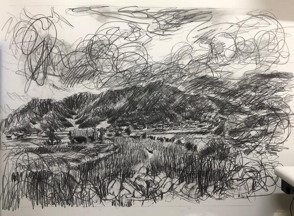 風景(手稲)   色鉛筆、紙 1030mm ☓ 1456mm   2018
