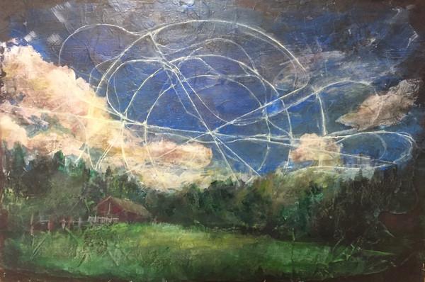 風景(富良野)   アクリル、油彩、木板   2016