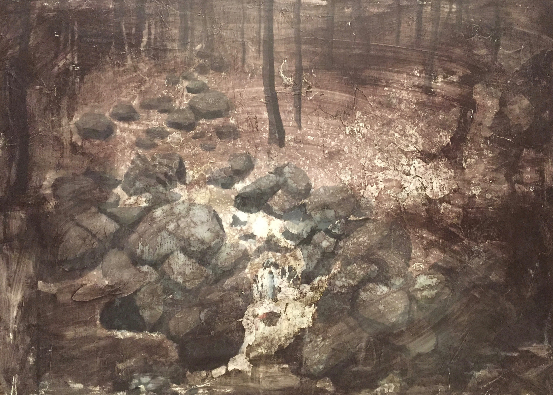 風景(手稲) | アクリル、油彩、木板 | 2016