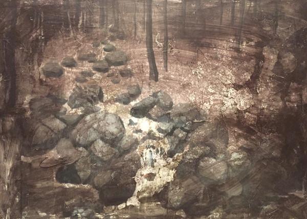 風景(手稲)   アクリル、油彩、木板   2016