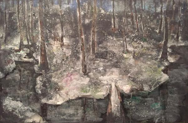 風景(手稲)   アクリル、油彩、木板 900mm×600mm   2016