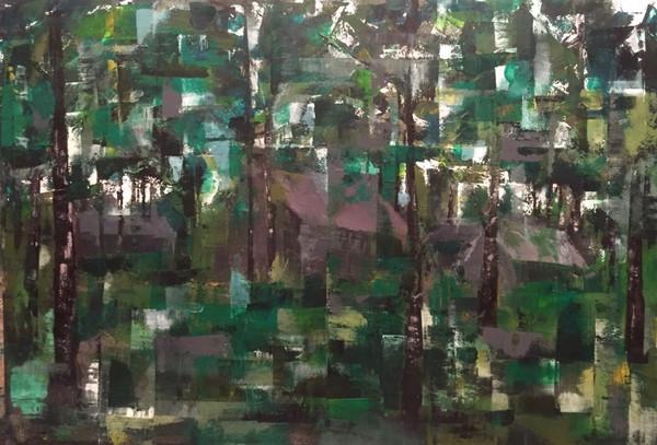風景    アクリル、油彩、木板 750mm×550mm   2016