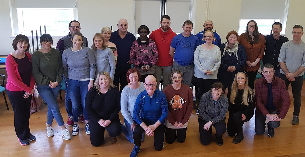Standing L to R  Caroline Farrell, Daughters of Charity (DoC), Dublin; Gillian Callan, DoC, Dublin; Mark Talbot, DoC, Roscrea; Elaine Ryan, DoC, Roscrea; Margaret O'Friel, DoC, Dublin; Noelene Mullen, HSE Southside; Tony Mulvihill, HSE Southside; Omotayo Apara, HSE Southside; Damian O'Neill, Studio 3, Kerry; Eugene McGinley, HSE Donegal; Mary Maher, Studio 3 Dublin; Keith Hayes, Camphill Communities, Dunshane; Bridget Ryan, SOS Kilkenny; Marian O'Shea, Studio 3, Dublin; Bernard Collins, DoC, Limerick; Kieran Murray, HSE Donegal; Kneeling L to R: Tina Kellegher, DoC, Limerick; Sonia O'Donnell, HSE, Donegal; Martin Galvin, Studio 3, Dublin; Brid Dempsey, DoC, Dublin; Brid Costelloe, SOS Kilkenny; Hnnah McAuliffe, Studio 3, Dublin; Barry Newell, Brothers of Charity, Galway.