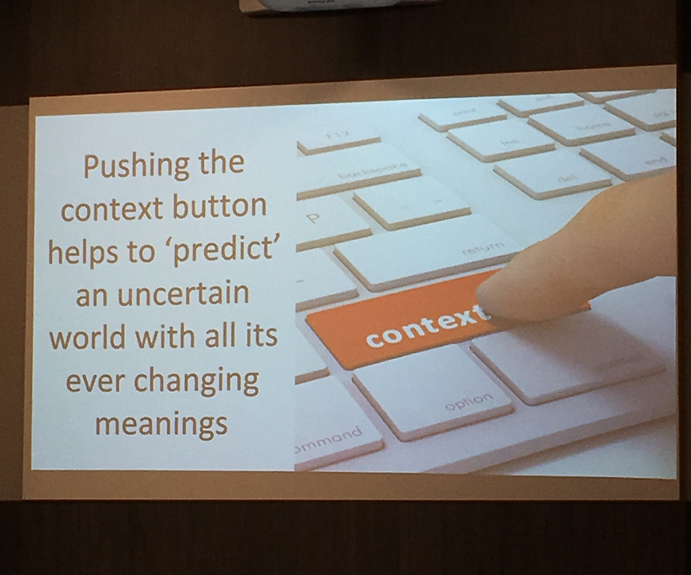 Pushing the context button helps to 'predict' an uncertain world with all its ever changing meanings