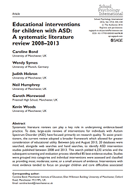 Eduational Interventions for Children with ASD Bond et al