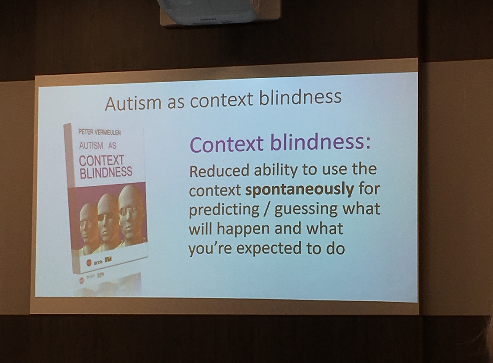 Autism as context blindness by Peter Vermeulen. Context blindness: Reduced ability to use the context spontaneously for predicting/guessing what will happen and what you're expected to do