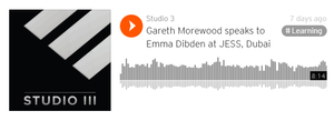 Soundcloud player playing Studio 3 Training Systems, track name 'Gareth Morewood speaks to Emma Dibden at JESS, Dubai'
