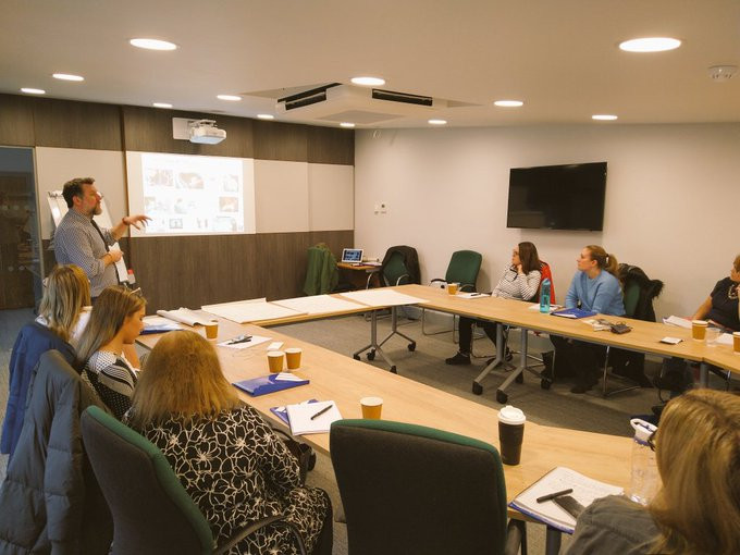 Professor Mark Wetherall delivering Studio 3 Atlass training to a group of delegates in November 2019