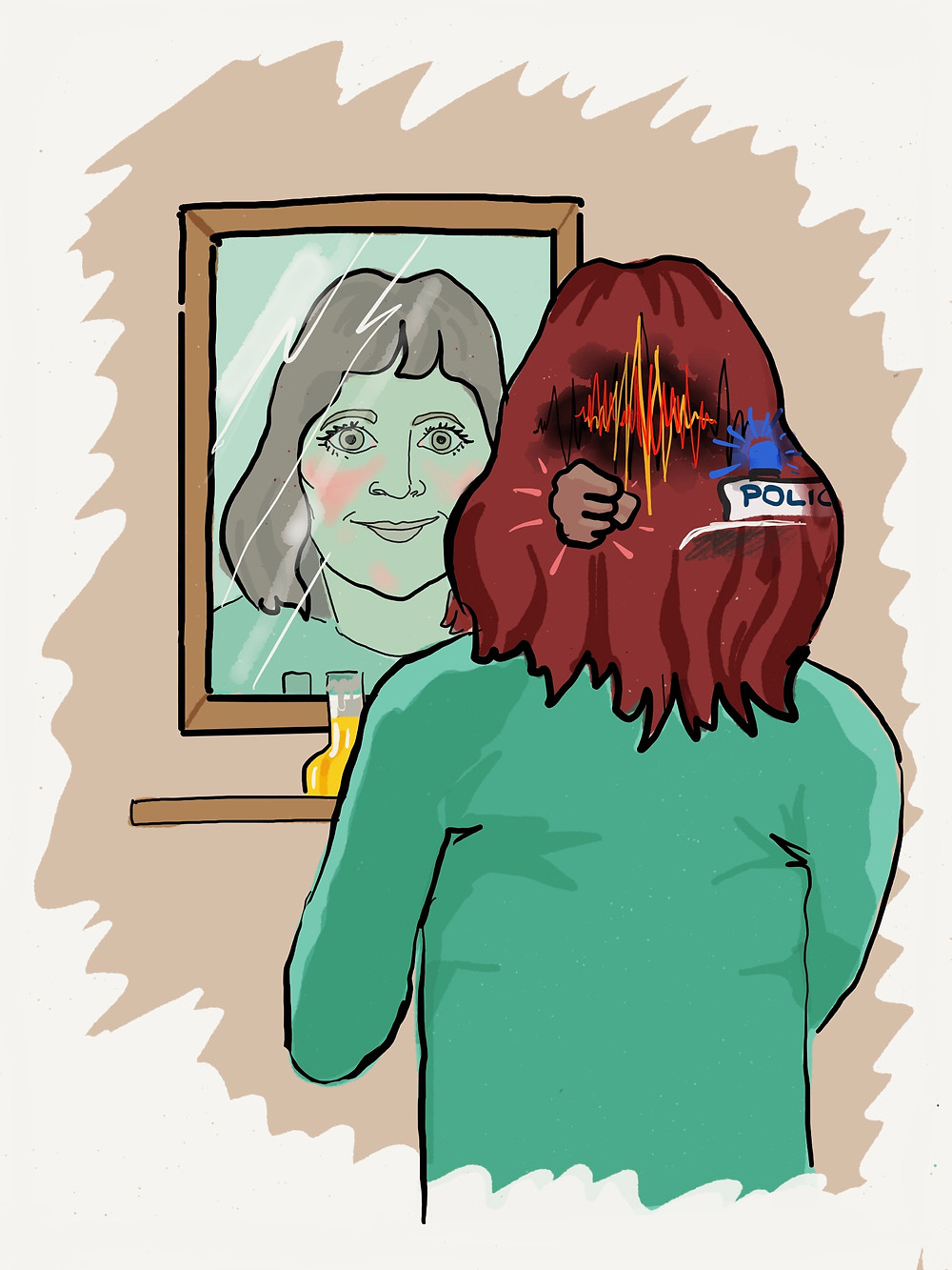 Woman smiling in the mirror re-living negative memories illustrated on the back of her head