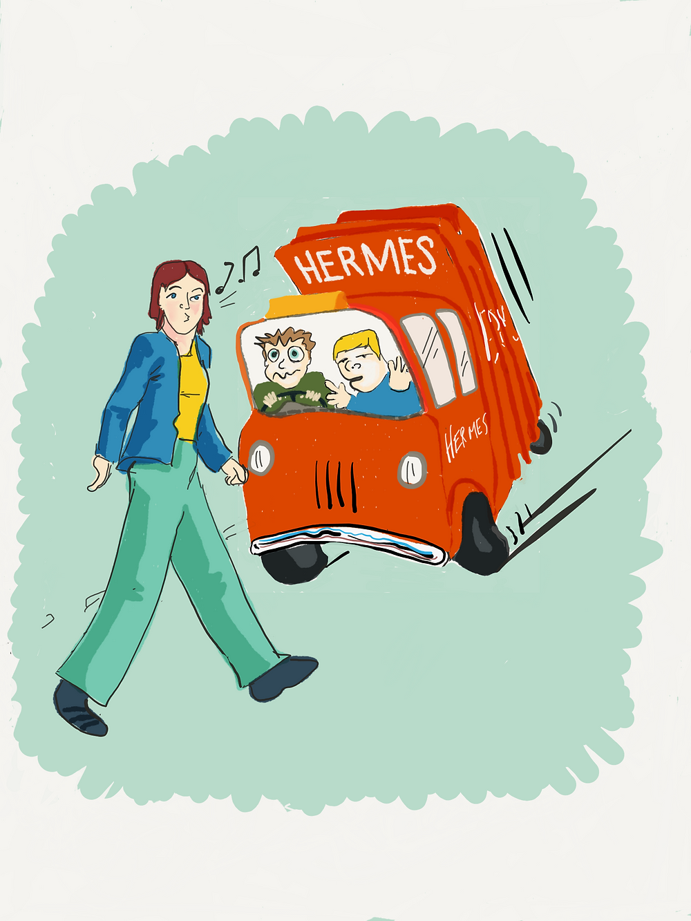 Woman whistling walks unaware in front of a Hermes delivery van.