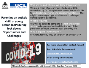 UCL Research Study into the challenges caused by the covid-19 lockdown for parents of autistic young people