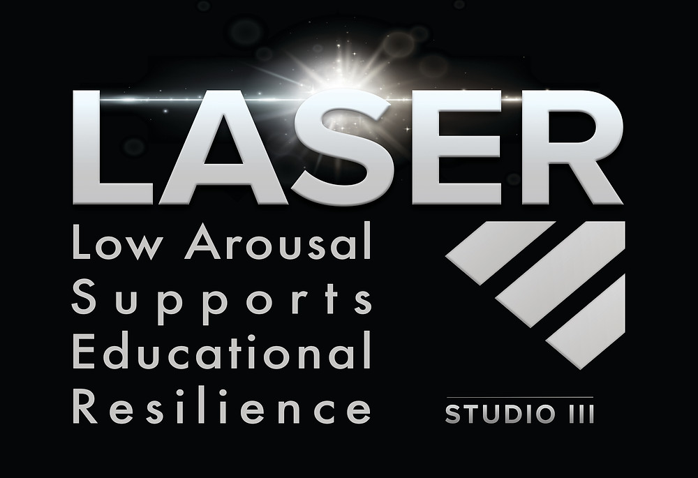 Low Arousal Supports Educational Resilience (LASER) logo by Studio 3
