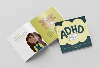 Promotional image for 'ADHD and Me!' by Claire Ryan; book open at a page on Ideas and ADHD