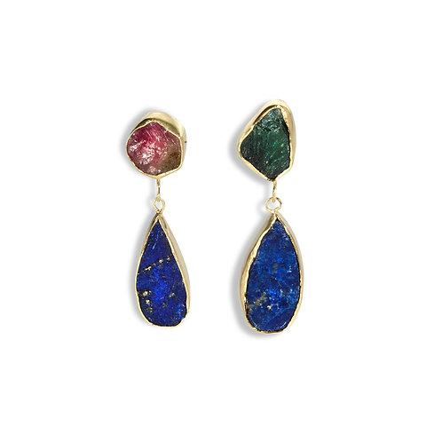 Lapis and Tourmaline Earrings