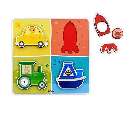 Quebra–cabeça de encaixe - Transportes, cores e formas