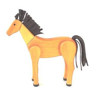 Cavalo de madeira articulado - bege
