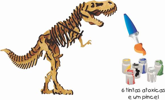 Q.C 3D Tiranossauro 29 pçs Pinta e Brinca